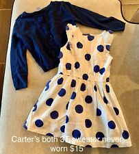 Carters Girls Blue Polka Dot Dress With Matching Sweater 3T