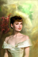 HD Print Audrey Hepburn Oil Painting Art Giclee Printed on Canvas P831