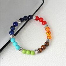 7 Colors 8mm  Yoga Life Lava Rock Stone Colorful Chakra Buddha Beads Bracelet