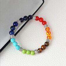 7 Colors 8mm Yoga Life Lava Rock Stone Colorful Chakra Buddha Beads Bracelet