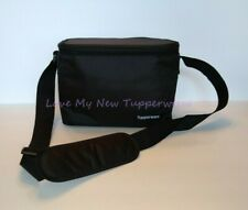 Tupperware Zippered Lunch Bag Tote Insulated Adjustable Strap Black New