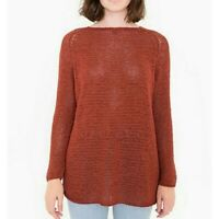 American Apparel Delphine Tunic Sweater XS Open Knit Stitch Loose Pullover Rust