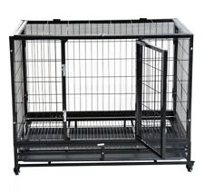 Metal Kennel Cage with Wheels Crate Tray Pet Dog Cat Rabbit Animal Strong UK NEW