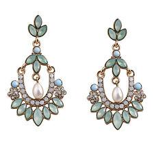 Fashion Pearl Crystal Rhinestone Alloy Dangle Earrings Ear Stud Jewelry Women