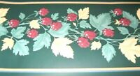 Wall Wallpaper Border Raspberry Vine Tan Red Leaves Dark Green Gold EH99893 5""