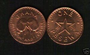 GHANA 1 PESEWA KM13 1979  BUSH DRUM RARE DATE AFRICA GHANAIAN MONEY COIN