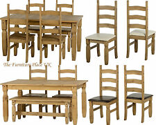 Corona 5ft Dining Set Waxed Pine with option of Cream or Brown Chairs or Bench