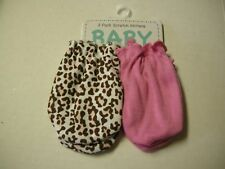 Scratch Mittens, Girl, 2 Pack, Solid Pink and Cheetah Print, 6-12 Mon, Brand New