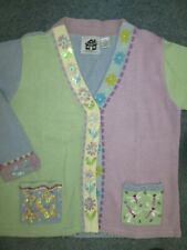 STORYBOOK KNITS Sweater CARDIGAN Sz M – Sequin Butterflies, Dragonflies Floral