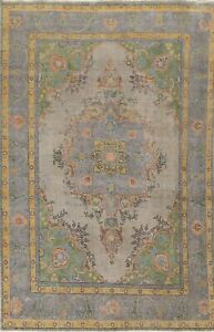 Antique Overdyed Geometric Traditional Handmade Evenly Low Pile Area Rug 6x10 ft