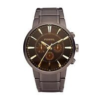 Fossil FS4357 Chronograph Brown Dial Ion Plated Stainless Steel Men's Watch