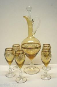 """19"""" Wine Decanter/Carafe & 5 Glasses, Handpainted  Arte Italica? Italy"""