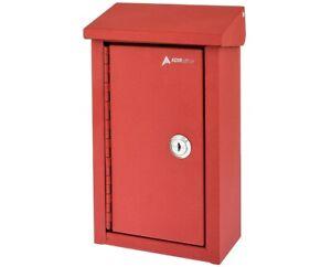 AdirOffice Red Coated Steel Outdoor Business Key Storage Mailbox Drop Box