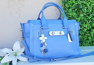 New Coach 35796 Swagger Leather periwinkle purse satchel bag crossbody handbag