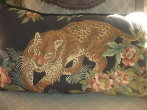 Newport lion floral leaf black pink tan tapestry oblong large decor pillow throw