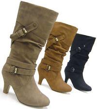 Markenlose wadenhohe Damen-Stiefel mit mittlerem Absatz (3-5 cm)