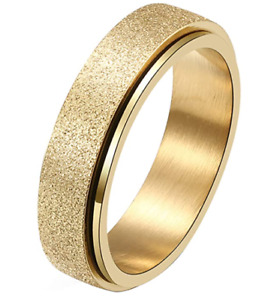 Sand Blasted 6mm Anxiety Spinner Rings for men and woman Fidget Decompression
