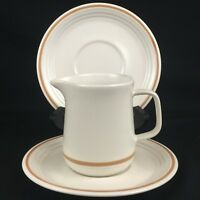 VTG Creamer and 2 Saucer Plates by The Cellar R.H. Macy Stoneware Japan FW-1240