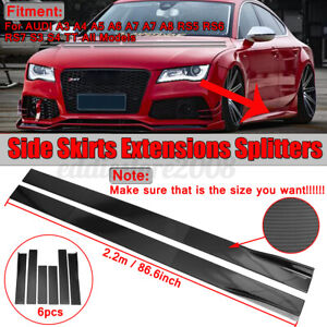 86.6'' Carbon Look Side Skirts Extensions Body Kit For AUDI A3 A4 A5 A6 RS5 RS6