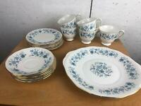 Colclough Bone China Blue Flower Pattern Tea Set with 5 Cups, 6 Saucers, 6 Plate
