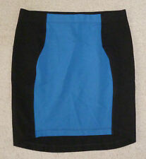 WITCHERY blue and black mid length stretchy skirt, Size 12, NWT