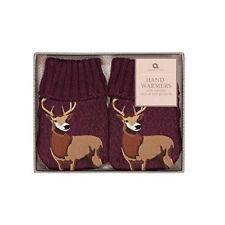 Aroma Home Hand Warmers Set Stag Burgundy Reusable Gel Heat Packs Knitted Cover