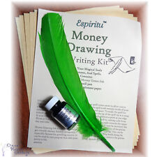 MONEY DRAWING Spell Writing Kit Wiccan Pagan Witchcraft Parchment Ink & Quill