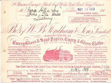 Engraved Billhead 1913  WB Fordham.Emery.Glass & Sand papers.  etc(B19)