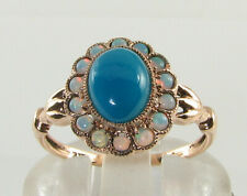 9K 9CT ROSE GOLD PERSIAN TURQUOISE OPAL ART DECO INS CLUSTER RING Size J