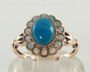 9K 9CT ROSE GOLD PERSIAN TURQUOISE OPAL ART DECO INS CLUSTER RING Size Q 1/2