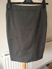 Ted Baker Grey Wool Mix Pencil Skirt Smart Career Wear Landgirl Size 1 (UK 8)