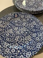 Royal Wessex Churchill China England CALICO Blue Dinner Plates - Set of Four 4
