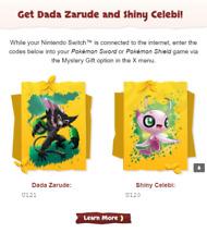 Shiny Celebi & Dada Zarude Official Event Codes - Pokémon Sword & Shield