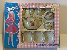 Vintage 1994 Barbie Miniature China Tea Set by Chilton Toys Mattel 13 Piece
