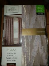 """Chevron Chenille Fully Lined Curtains Blush 46"""" (116cm)x72""""(182cm) New"""