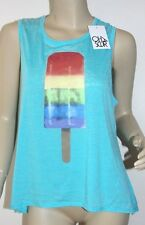 NWT Chaser LA BURNOUT TEE BOXY T SHIRT TANK TOP 'RAINBOW POPSICLE' ~SIZE LARGE