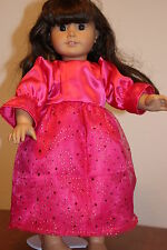 "Pink satin dress with overlay skirt sequin gold dots pink shoes  fits 18"" doll"
