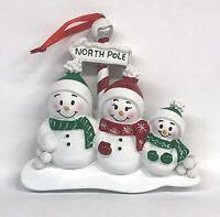"Snowman Family Ceramic Christmas Ornament Personalize It! 3.75x""x 3.75""x .75"""