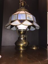 Vintage Tiffany Style Stained Glass Hanging Ceiling Lamp-w Flood light in bottom