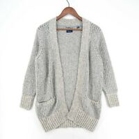 GANT Grey Cotton Wool Blend Chunky Cardigan Sweater Size S