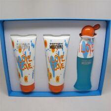 I LOVE LOVE by Moschino 3 Pcs Set: 1.7 oz EDT Spray, 3.4 oz Lotion & Shower Gel