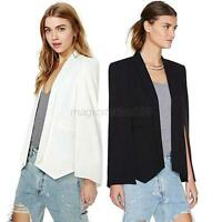 Fashion Women Lapel Split Long Sleeve Coat Jacket Casual Blazer Cape Suit Tops