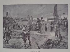 Execution Of Jan Huss Czech Priest Philosopher in 1415 Original Print 1894