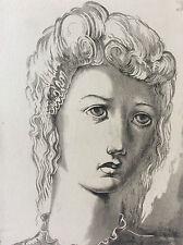 Léon MASSON (1911-1984) portrait jeune femme Estampe technique mixte signée