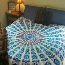 Indian White Mandala Cotton Tapestry Bedspread Queen Wall Hanging Beach Mat Boho