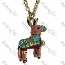 BIG 3D donkey PINATA pendant LONG NECKLACE multi coloured BETSEY JOHNSON gold pl