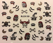 Nail Art 3D Glitter Decal Stickers Halloween Pirate Witch Skull Bat Bone BLE915D