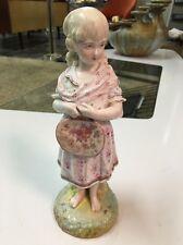Antique 19th Cent Porcelain Figurine Girl Floral Dress Barefoot Meissen KPM era