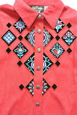 Bob Mackie Wearable Art Shirt S Top Light Jacket Cotton Red Embroidered QVC