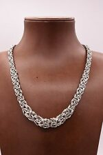 "17"" Italian Graduated Byzantine Link Necklace Rhodium Sterling Silver 925"
